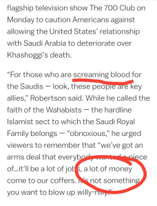 Money or righteousness.  Saudi Arabia and free speech.